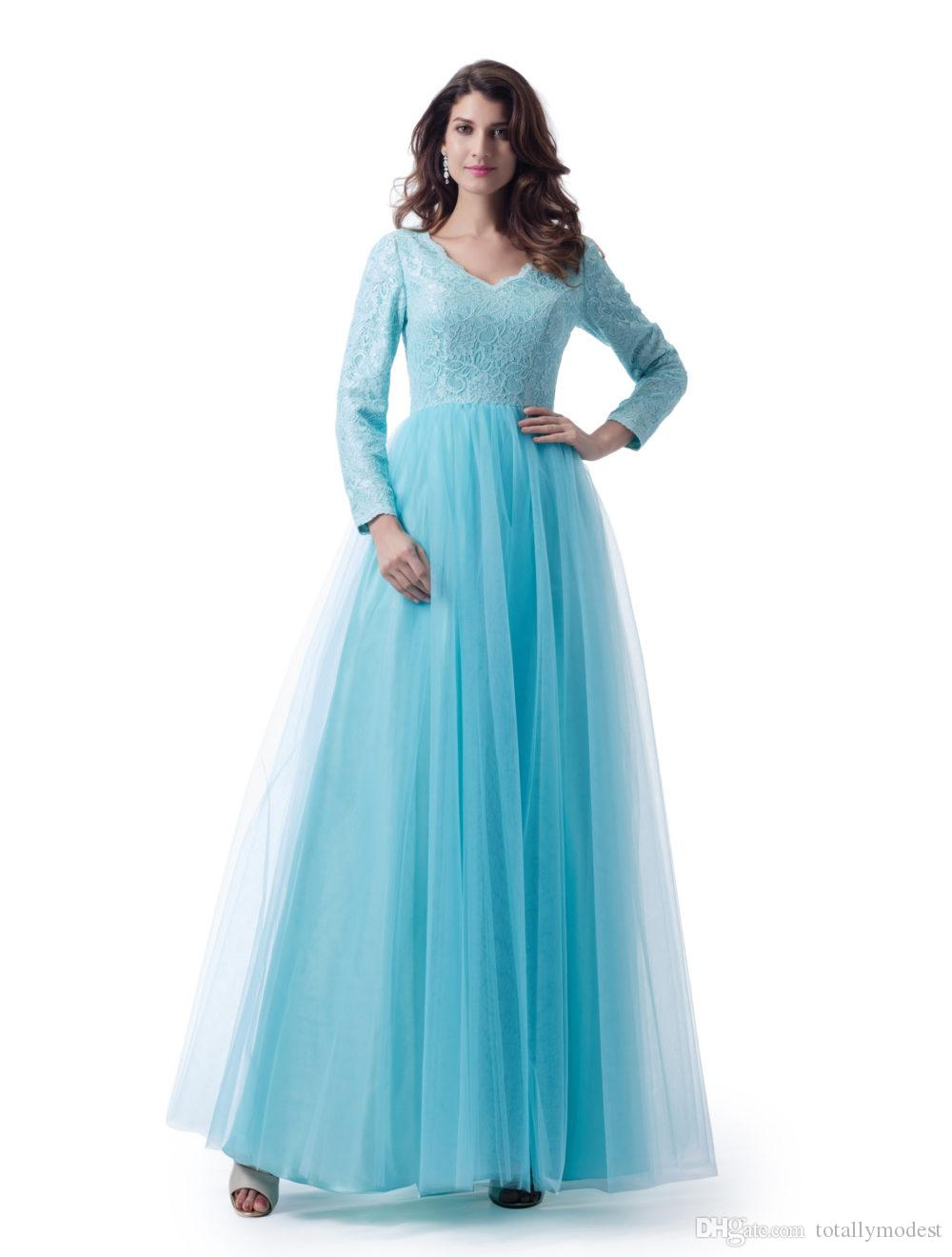 Long Sleeves Blue Modest Wedding Long Bridesmaid Dresses With V Neck Lace Top Tulle Skirt Women LDS Bridesmaid Robes Custom Made