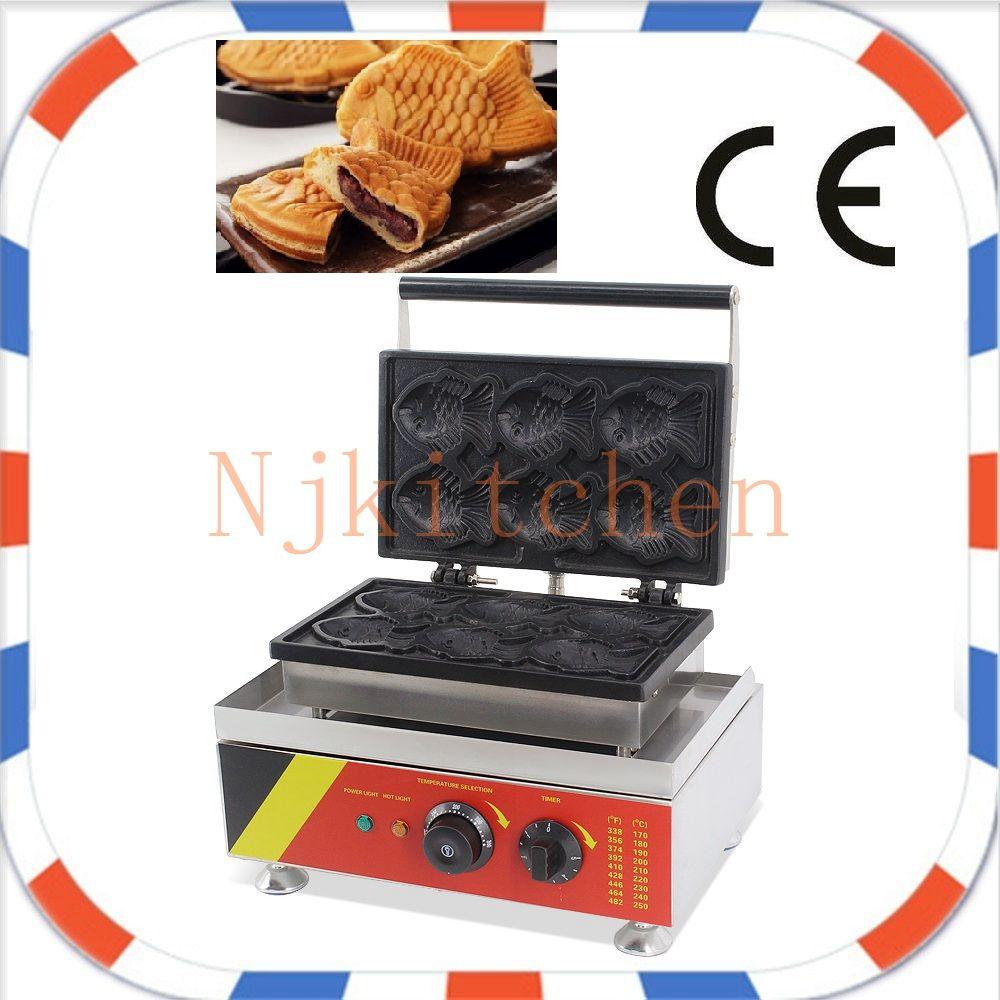 Uso commerciale libero di trasporto 110v 220v elettrico 6pcs giapponese Taiyaki pesce Waffle Maker ferro Baker Machine Mold Plate