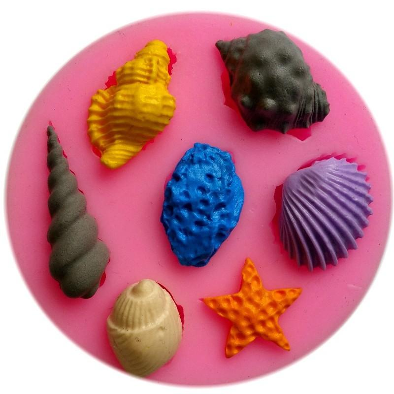 Conchas do mar e conchas fondant mofo, argila de resina molde de silicone bolo de chocolate doces, fondant ferramentas de decoração do bolo TY1812