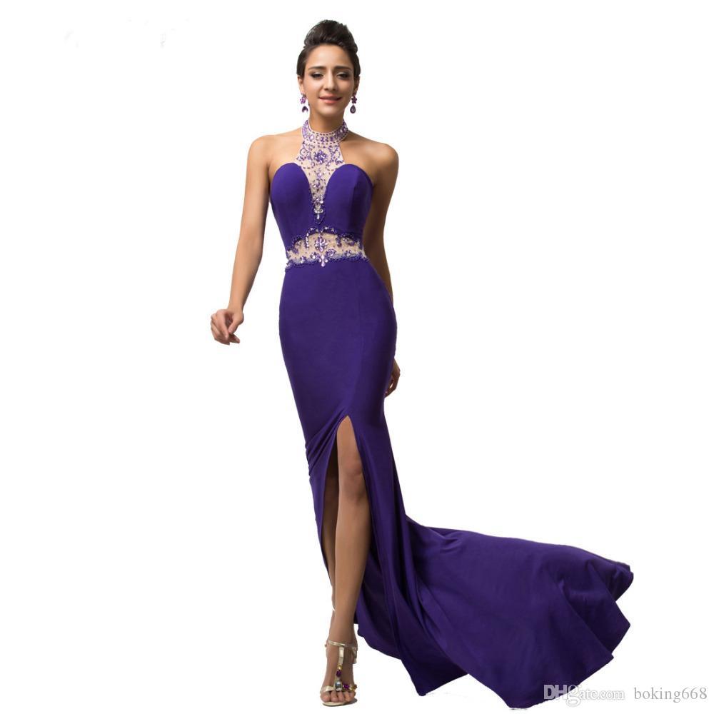 Barato sem encosto longo vestidos de baile vestidos 2019 Mais recente Elegante cabeçada sexy lado fenda azul turquesa sereia ocasião especial vestido mulheres
