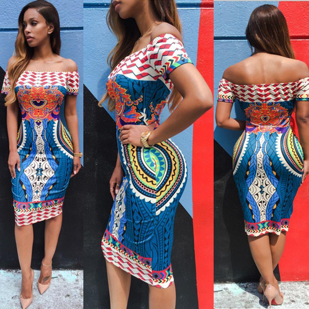 2016 D'été Femmes Traditionnel Africain Imprimer Sexy À Manches Courtes Épaule Dashiki Moulante Robe Jun 9 Incroyable