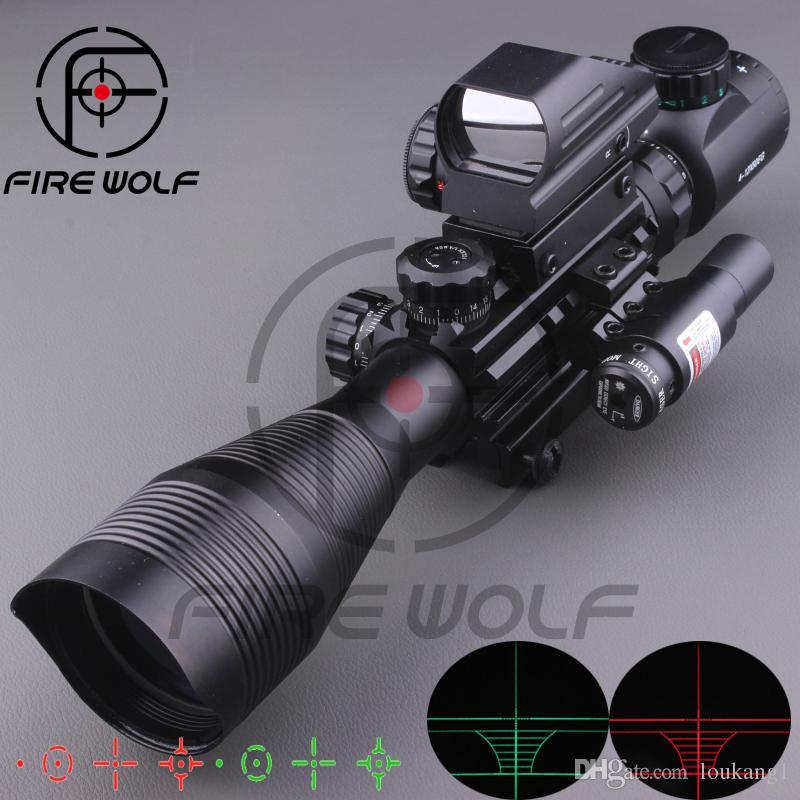 2017 NUOVO 4-12X50EG Mirino tattico con mirino olografico a 4 reticoli Mirino laser rosso Combo Airsoft Sight Hunting