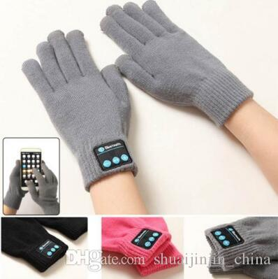 4 colores Toque los guantes de Bluetooth Guantes de invierno Tacto Guantes de punto Unisex Teléfono móvil Auriculares inteligentes inalámbricos 2 unids / par CCA7464 100 par