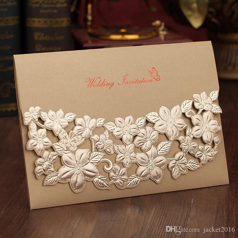 Gold Red Wedding Invitations 2018 Personalized Printing Laser Cut ...