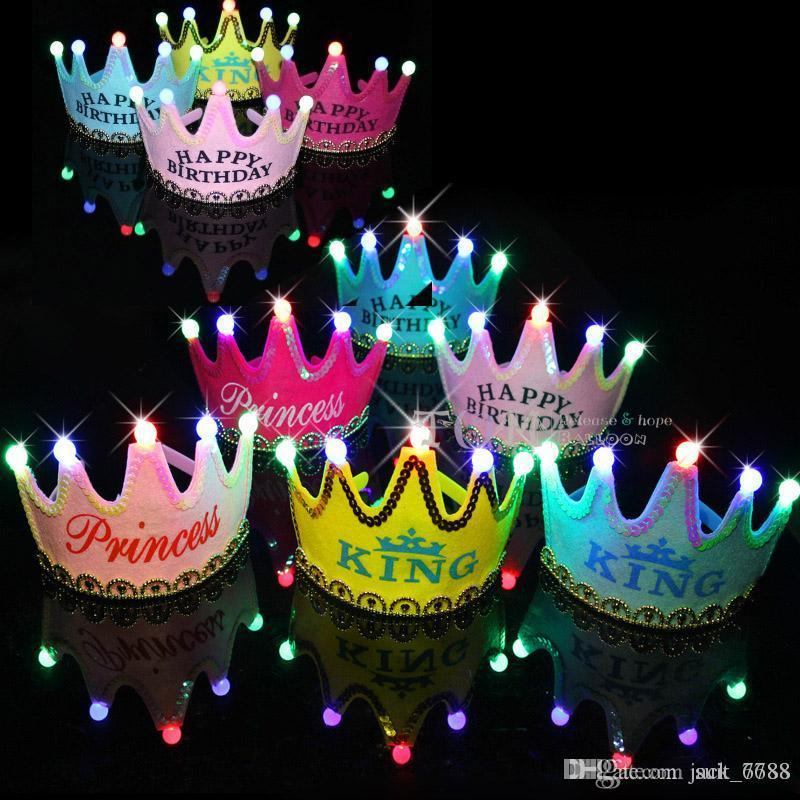 Free shipping birthday hat luminous crown hat children baby birthday party supplies and furnishing age headdress