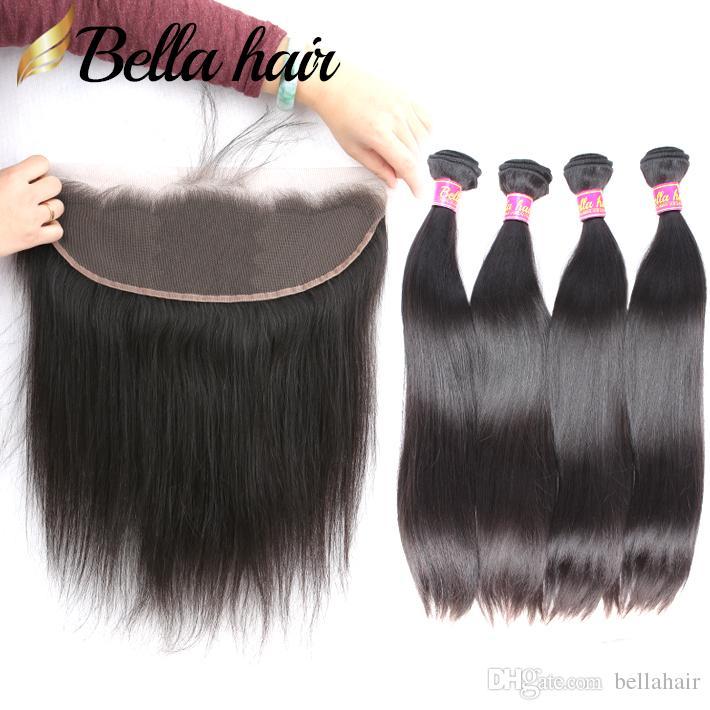 """비공개 처녀 인간의 머리 위사가 레이스 정면 13x4 """"스트레이트 헤어 weaves double weft hair extensions closure 5pcs / lot bellahair"""