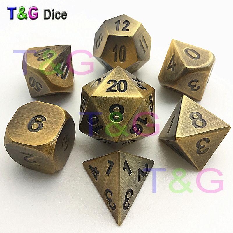 TOP Qualité NOUVEAU Bronze Métal 7 Dice set d4 d6 d8 d10 d% d12 d20 pour jeu de société donjons et dragons jouet RPG Dice avec Boxes