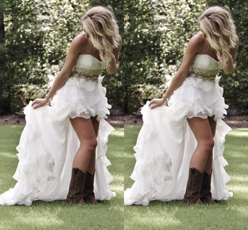 2016 Summer Garden Beach High Low Robes De Mariée Avec Cristal Perlé Chérie Bas Dos À Volants Bling Organza Robes De Mariée