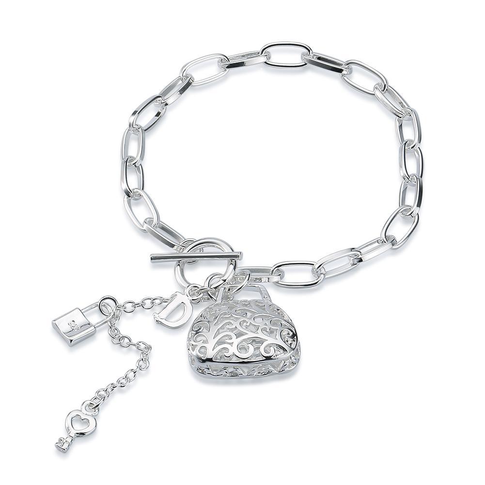 Usine direct en gros et au détail en argent Sterling 925 TO sac creux D Bracelet bijoux en argent