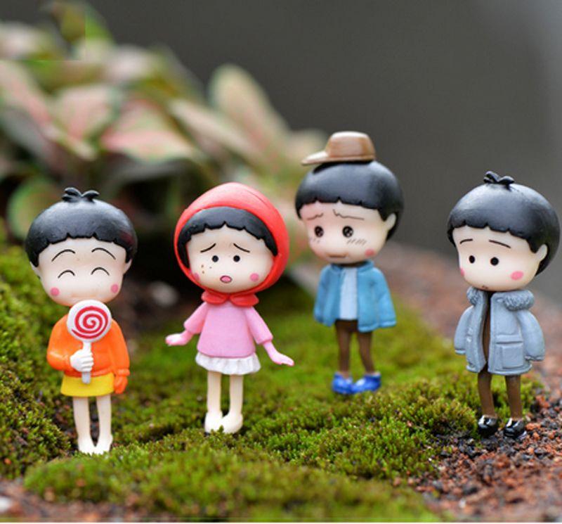 4pcs 애니메이션 치비 마루코 짱 피규어 페어리 가든 미니어쳐 수지 공예 테라리움 인형 Baison Dollhouse 장식품 소녀 장난감 DIY