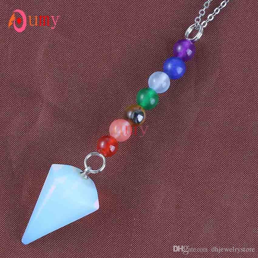 Vente en gros 10pcs plaqué hexagonal pyramide quartz avec 7 pierre ponte de guérison Pendulum pendentif pendentif nacklace convient au cadeau