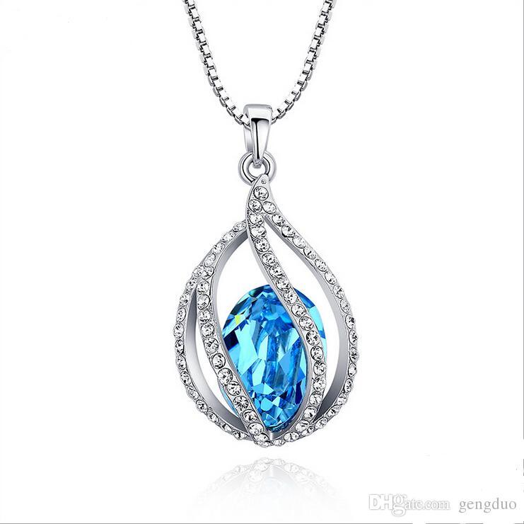 Кристалл кулон ожерелье сделано с элементами SWAROVSKI элегантный колье ожерелья Для WomenGirls аксессуары для вечеринок 2 цвета День матери подарок