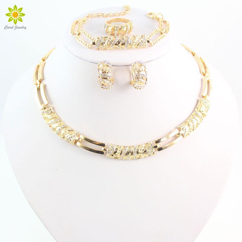 Elegante moda placcato oro set di gioielli ciondolo collana di cristallo austriaco orecchini anello braccialetto per le donne