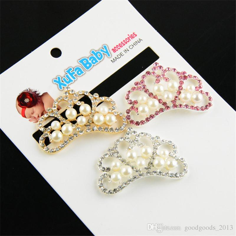 4.5cm Pearl Crown DIY Hair Garment Accessories Buckle Clear Crystal Rhinestone Crown Buttons Flat Back Decoration Buttons embellishment B140