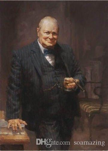 SIR WINSTON CHURCHILL, 100% pintura al óleo pintada a mano, retrato artístico, en lienzo grueso de alta calidad para decoración de paredes en múltiples tamaños