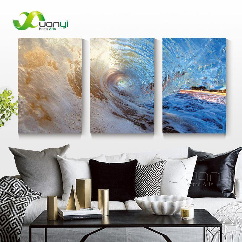 3 Panel Seascape Oil Canvas Painting Sea Wave Wall Art Picture For Living Room Modern Printing Unframed PR1287