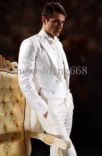 New Arrivals Double Breasted White Groom Tailcoat Peak Lapel Groomsmen Best Man Suits Mens Wedding Suits (Jacket+Pants+Bow Tie+Girdle) 02