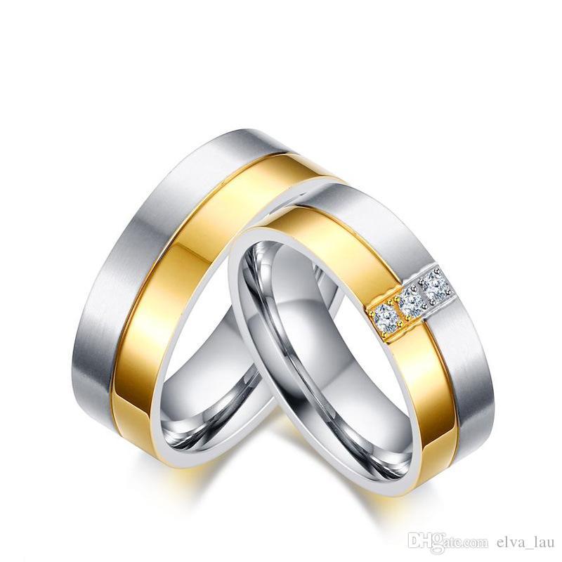 Couple Argent or Hommes//Femmes Anneaux Zircon Cubique En Acier Inoxydable Mariage Bande Bague