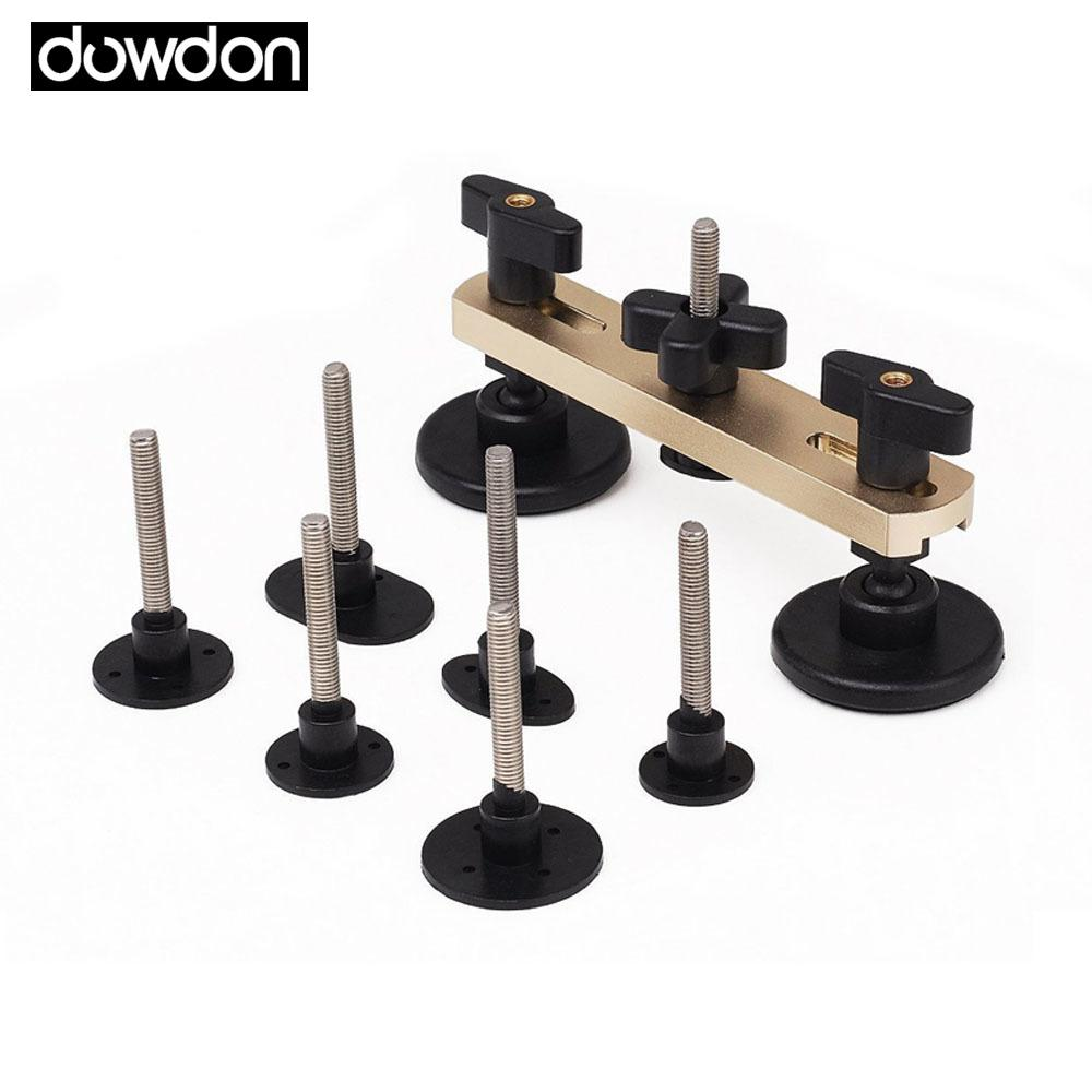 PDR Bridge Puller Sets Paintless Dent Removal Set Repair Tool Kit with 7 Pcs Different Shape Mats Threaded Rod