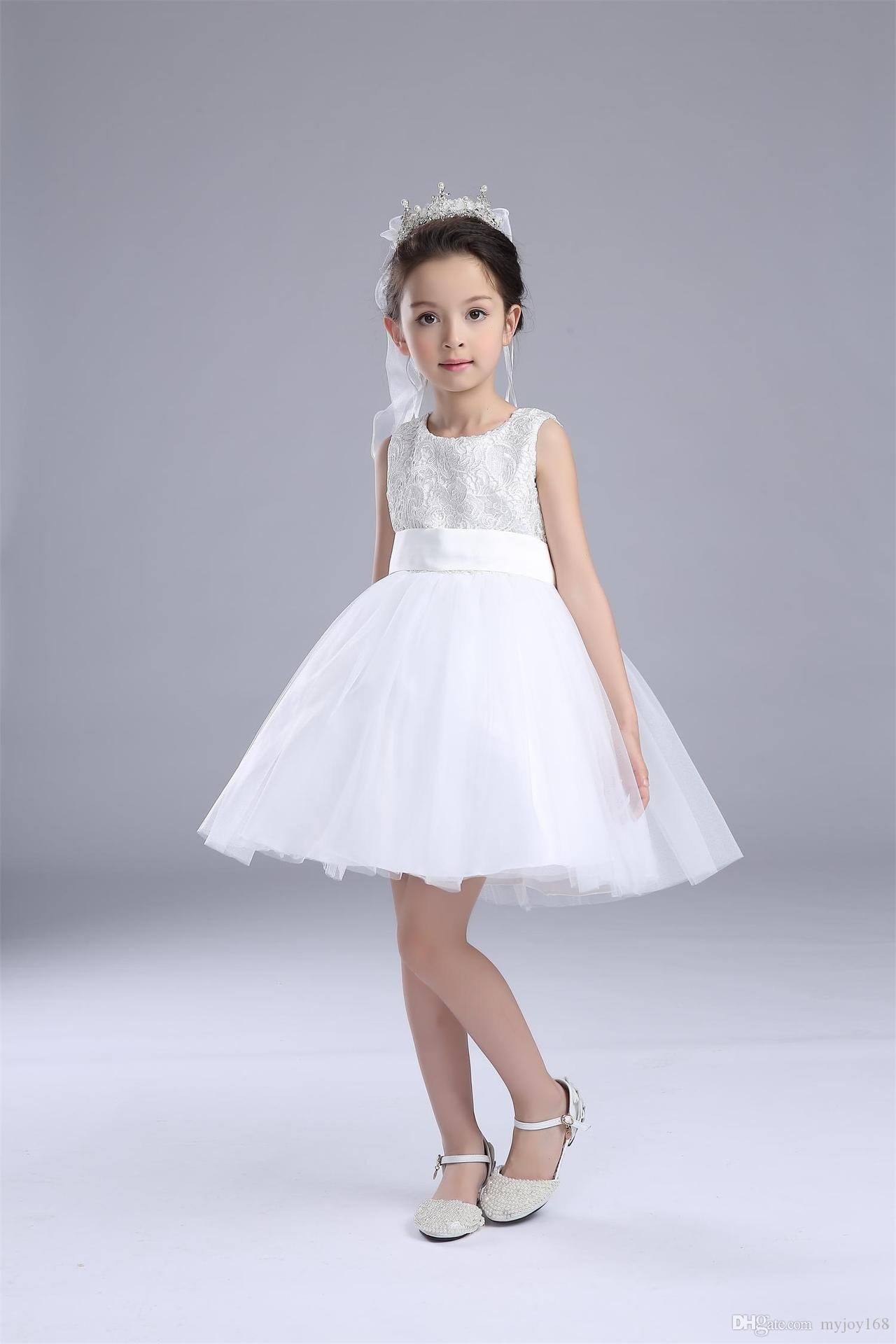 Beautiful Baby Girl Lace Dresses Flower Wedding Party Pink And White Colors Dress 2018 From Myjoy168 1759