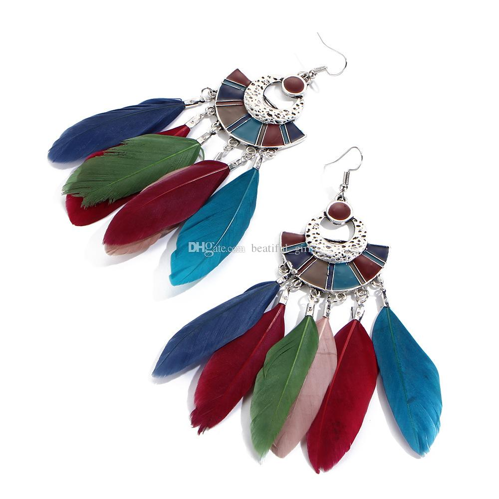 Colorful Bohemian Feather Dangle Drop Earring Gifts for Women Girls Jewelry000001001176