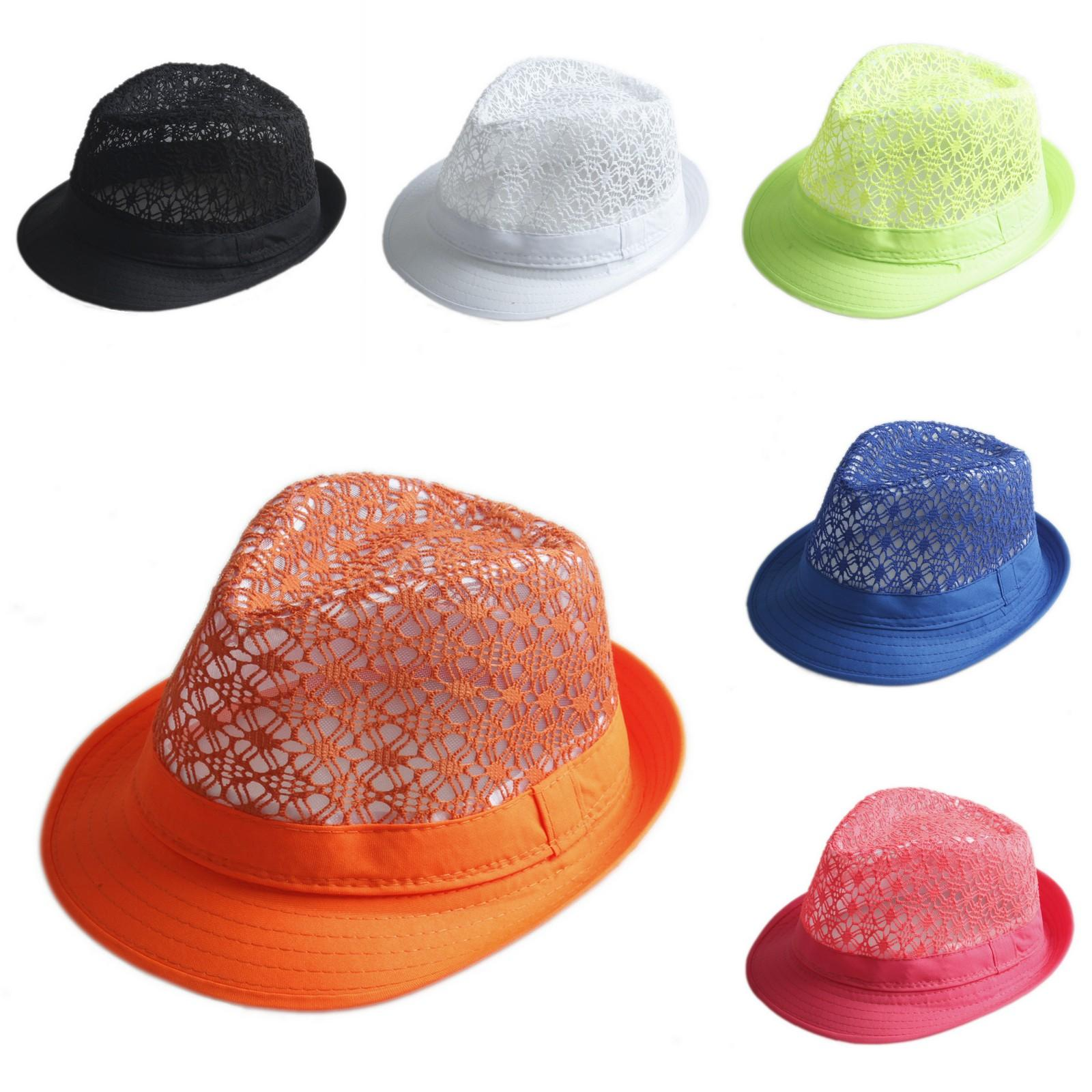 Women Men Summer Hollow Top Crown Fedora Hat Trilby Beach Jazz Cap Cotton Blend
