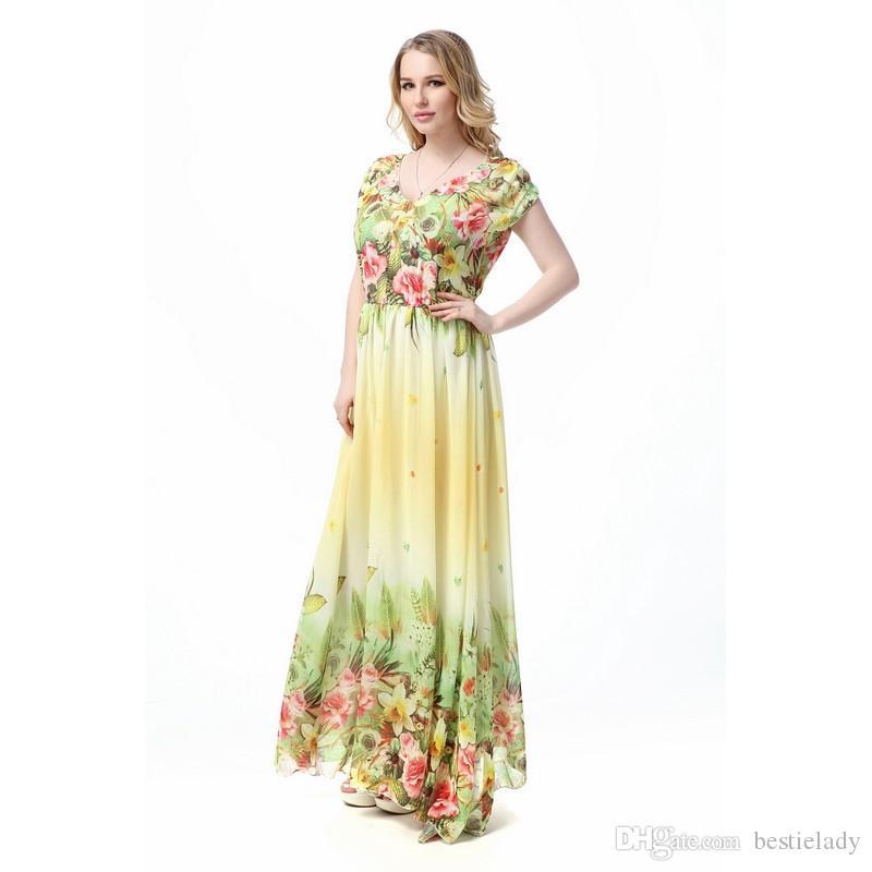 L-5xl tamanho grande maxi vestidos das mulheres longo chiffon estampa floral praia dress manga curta maxi vestidos sexy elegante bohemian dress plus size