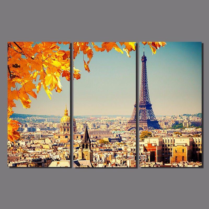 Moderne ville Paris feuille d'érable dessin 3 pcs scène orange Décoration Toile Tour Eiffel peinture mur Accrochage décoration non encadrée