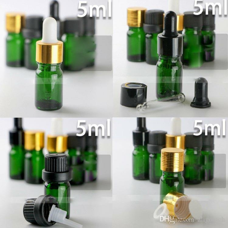 7 estilo a prueba de niños Cap 5ml vacío verde de la botella de vidrio con gotero de 5 ml E Botella líquida Aceite esencial de embalaje al por mayor caliente EE.UU. Mercado