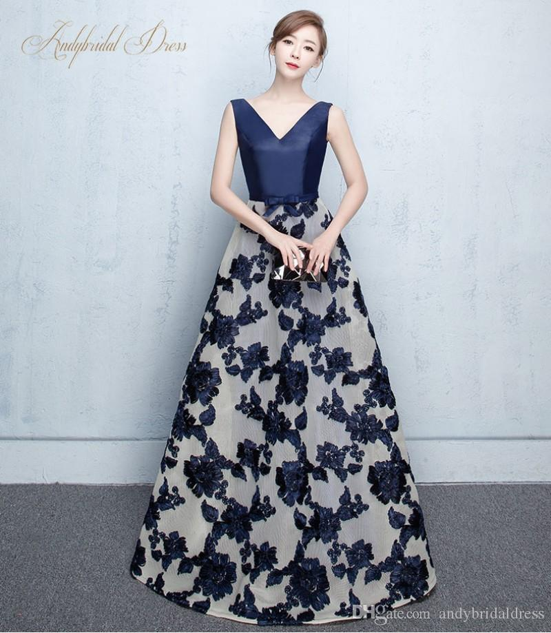 New Coming V Neck Straps Flower Pattern Lace Long Evening Gowns ...