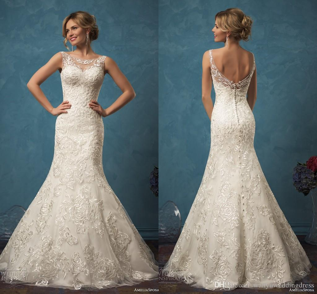 Lace Backless Mermaid Wedding Dresses 2016 Scoop Neck Modest Country ...