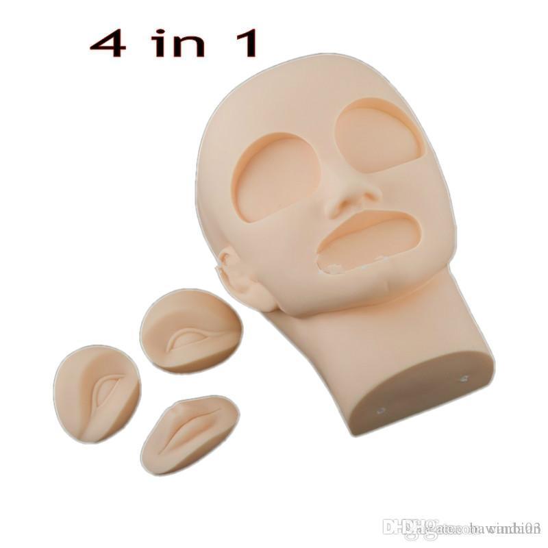 4 em 1 3D permanente maquiagem de maquiagem lábio tatuagem prática de pele manequim cabeça com 2 pcs olhos + 1 pc lábio