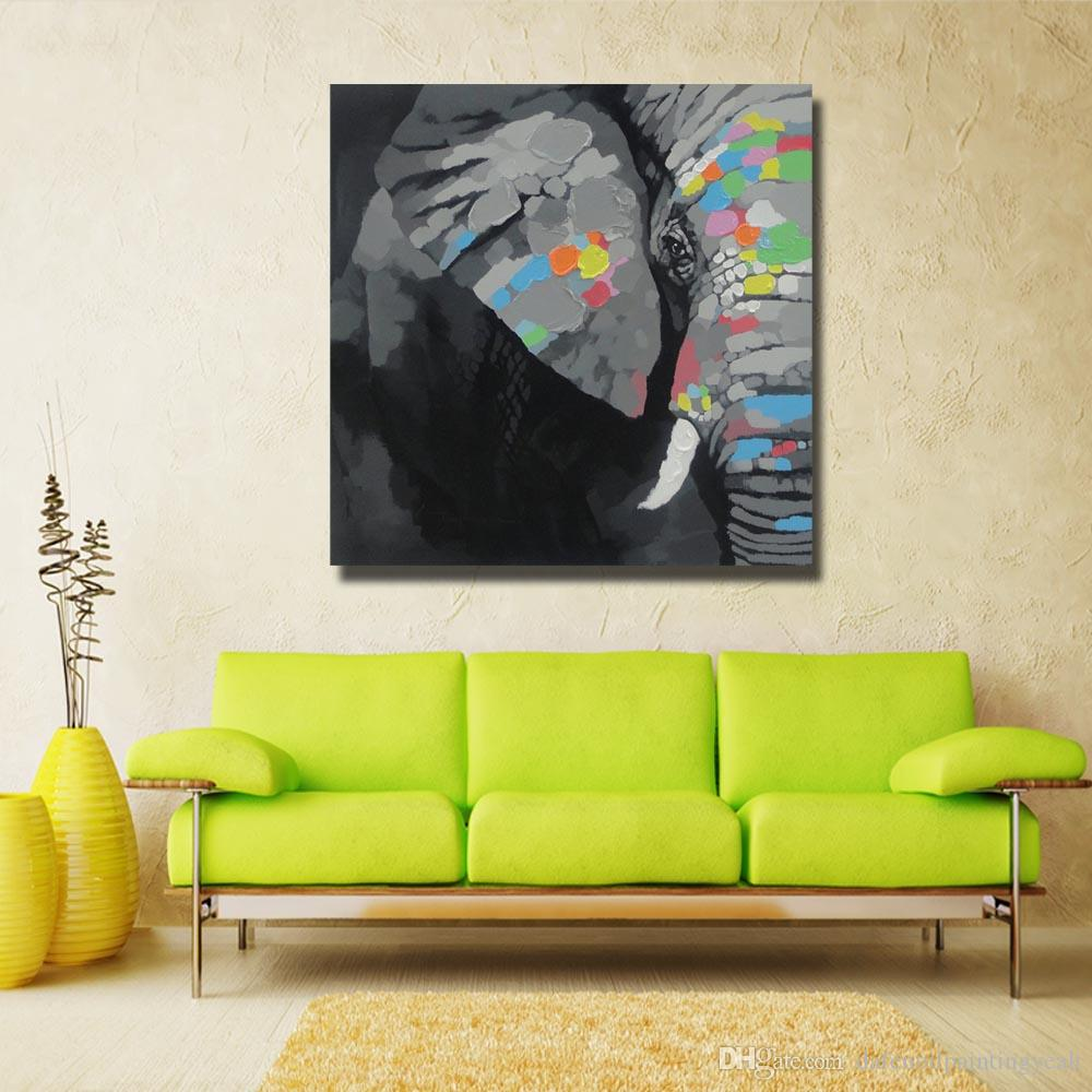 2018 Large Size Elephant Art Painting For Living Room Wall Hand ...
