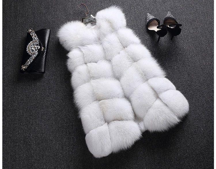 Women's 100% Real Genuine Full Pelt Skin Luxury Fox Fur Long Vest Waistcoat Gilet Fashion