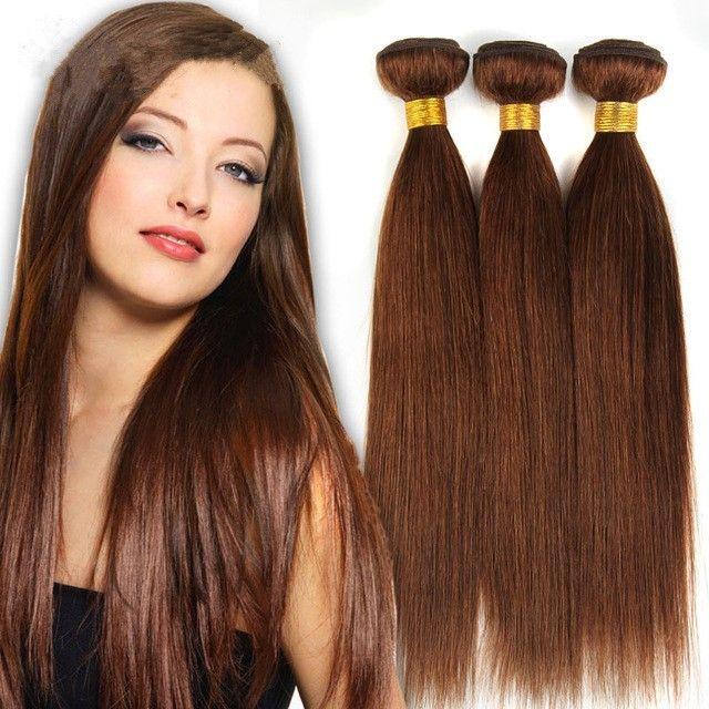 Grande Sconto-Grado 7A !! # 6 marrone chiaro brasiliano Virgin Remy capelli serico dritto tessuto 3 pezzi lotto cioccolato mocha dritto fasci di capelli umani