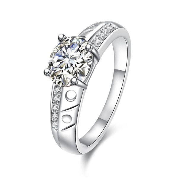 Vente chaude Full Diamond fashion ronde 925 bague en argent STPR057D marque nouvelle pierre gemme blanc argent plaqué bagues