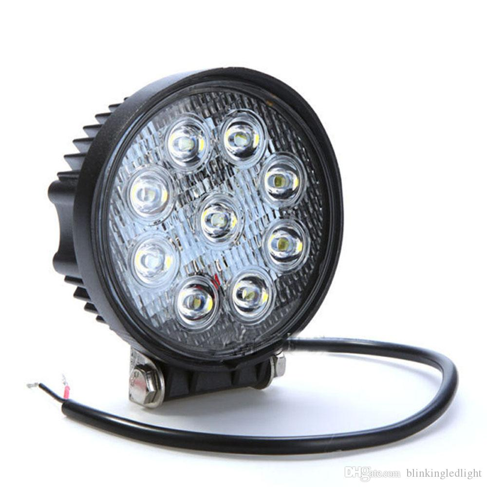 """10PCS 27W LED Work Light Flood Round Light For Jeep Tractor Truck Offroad SUV 4/"""""""