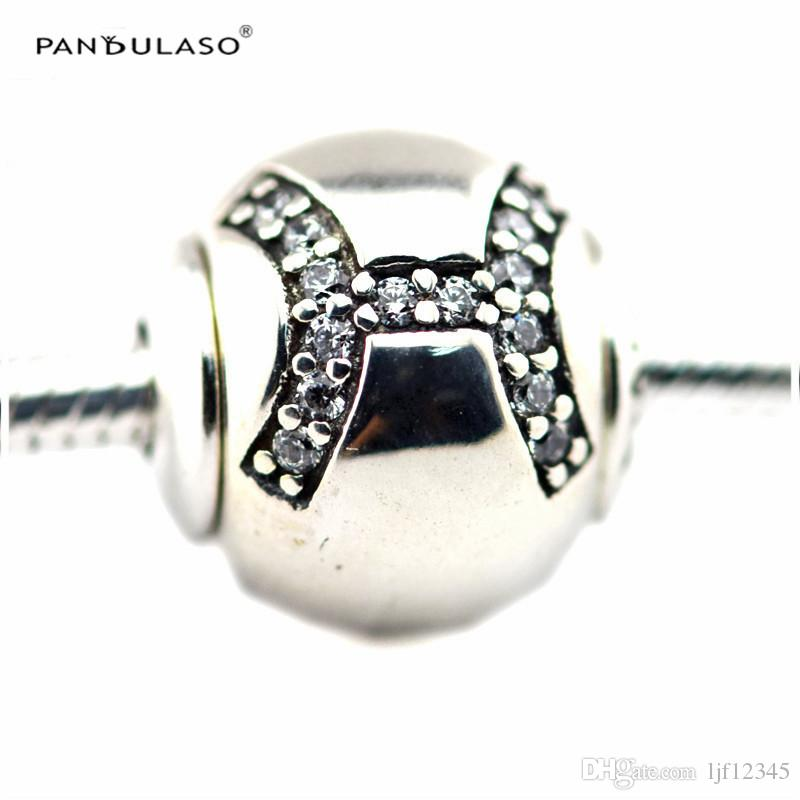 PISCES with Clear CZ Charm Essence Collection Fits Pandora Bracelets 2.5mm Hole Sterling-Silver-jewelry Beads For Woman Wholesale