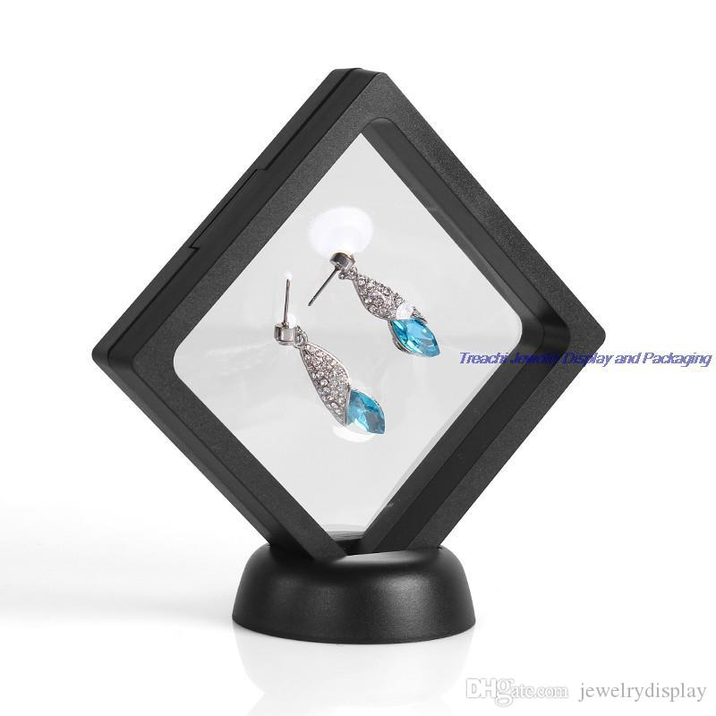 الشحن مجانا سعر السائبة 4pcs / Lot شفافة هدية مربع النافذة تعليق الماس والمجوهرات عرض موقف حامل