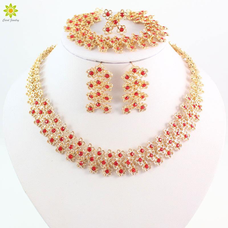 Conjuntos de Jóias de moda Colar Brincos Pulseira Anéis de Noivado Banhado A Ouro Para As Mulheres de Casamento Conjuntos de Jóias De Cristal Vermelho