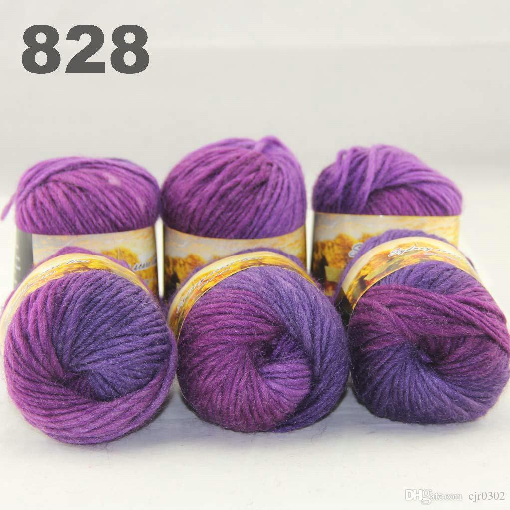 6 palline colorate a mano in maglia segmento tinto filati grezzi fantasia maglia cappelli sciarpe linea spessa viola prugna lilla 522828