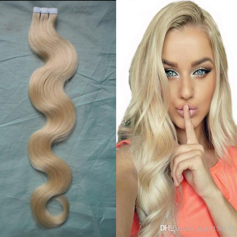 Tape In Hair Extensions Remy 40 pcs 613 Bleach Blonde Brazilian Hair Skin Weft Tape Hair Extensions 100g