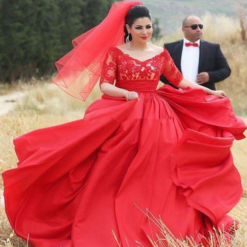Новейшие Романтические Плюс Размер Красные Свадебные Платья Половина Рукава V Шеи Кружева Длина Пола Линия Свадебные Платья Молния Назад На Заказ