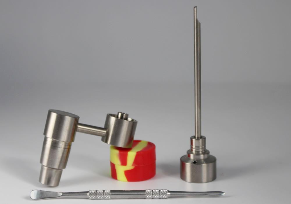 Bong Tool Set 14mm 18mm Domeless Gr2 Banger Titanium Nail Carb Cap Dabber Slicone Jar Glass For Rigs Bongs Smoking Water Pipes