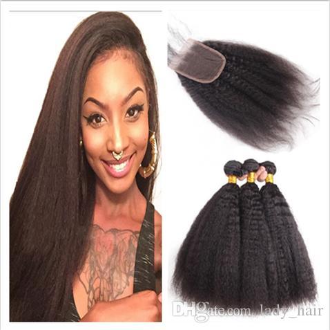 말레이시아 인간의 머리카락은 변태 스트레이트 4 * 4 3Bundles와 레이스 클로저 거친 야키 말레이시아 인간의 머리카락 클로저 4PCS 로트와 함께