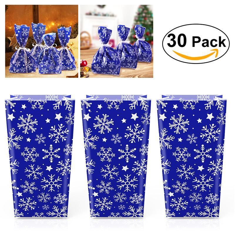30pcs Christmas Snowflake Holiday Cellophane Candy Bags Box (Blue) With Ribbon