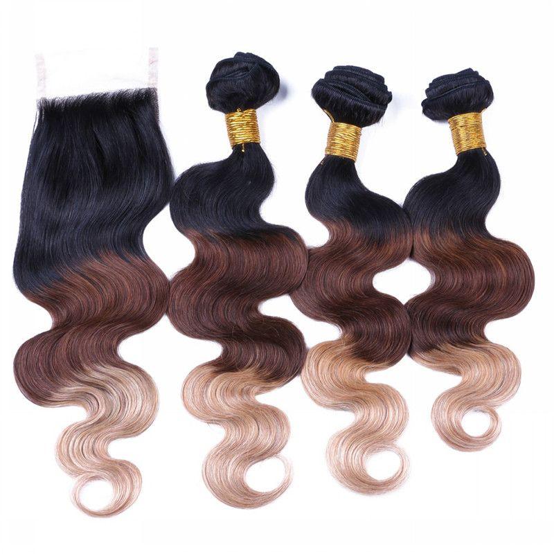 Индийский Ombre наращивание волос #1B/4/27 Ombre темные корни человеческих волос 3 шт. С кружева закрытия три тона волна тела волос ткать Бесплатная доставка