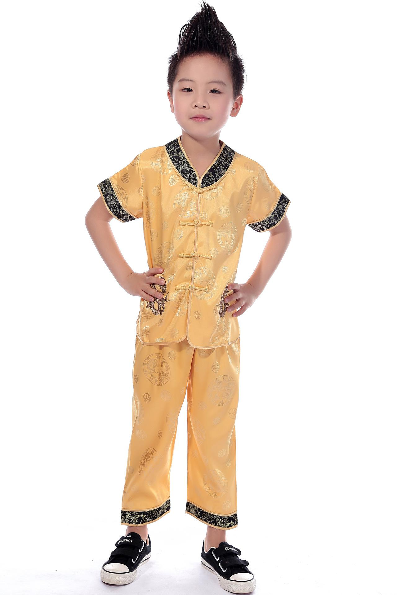 Shanghai Story Traditional Chinese Boy Dragon Kung Fu Suit Tang Costume tai chi uniform 4 Color