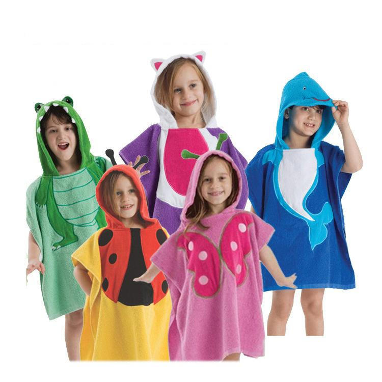 cartoon hooded children's bathrobes girls boys cotton Animal fleece bath robe kids home wear nightgown dress sleepwear dog bathrobe