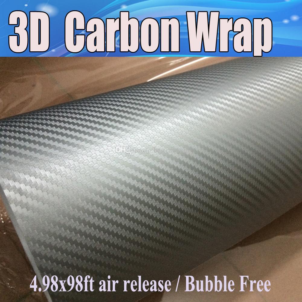 عالية الجوده الفضة 3d ألياف الكربون الفينيل ألياف الكربون سيارة التفاف السينمائي احباط مع استنزاف الهواء للمركبة الجرافيك شحن مجاني 1.52x30 متر / لفة